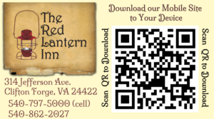 The Red Lantern Inn in Clifton Forge VA mobile site QR code download