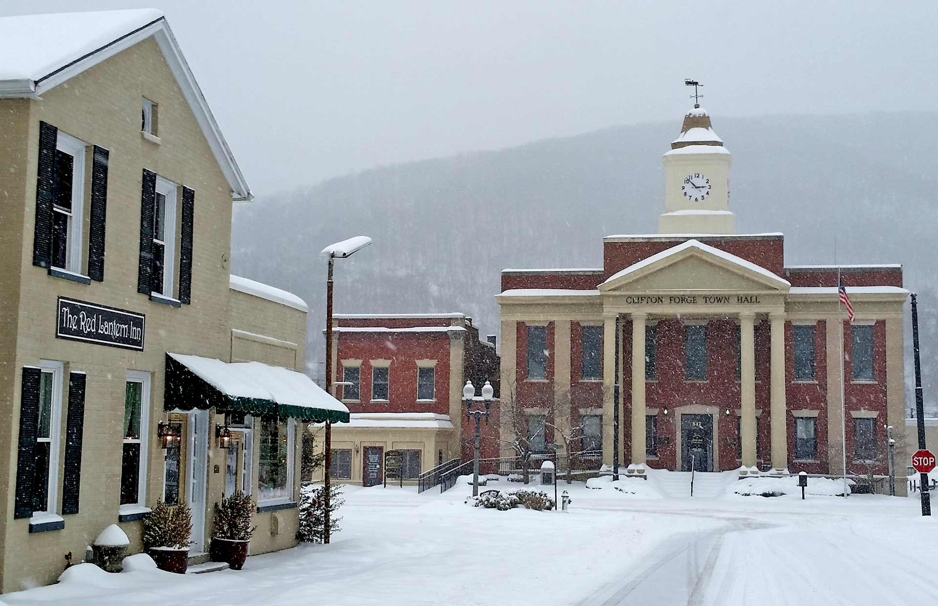 Inn And Courthouse In The Snow